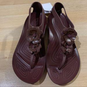 Crocs Serena Embellish Flip Flop Sandals Maroon